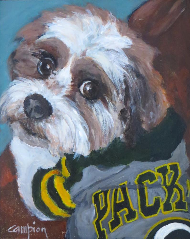 """""""848 Teddy, #1 Packer Fan"""" original fine art by Diane Campion"""