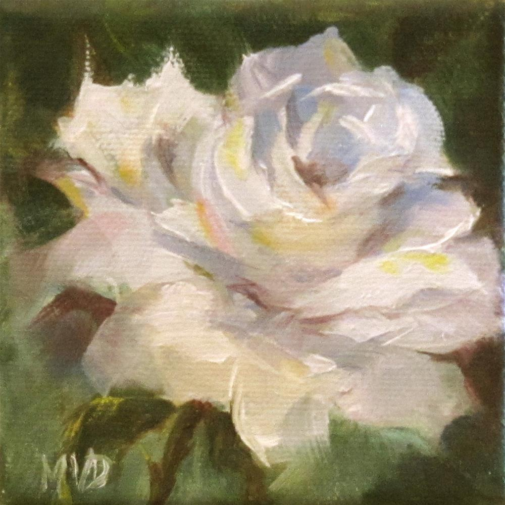 """White Rose II"" original fine art by Mary Van Deman"