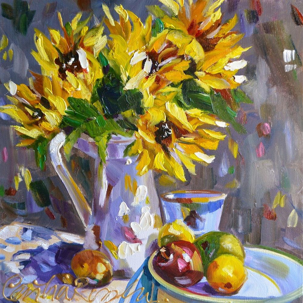 """SUNFLOWERS"" original fine art by Cecilia Rosslee"