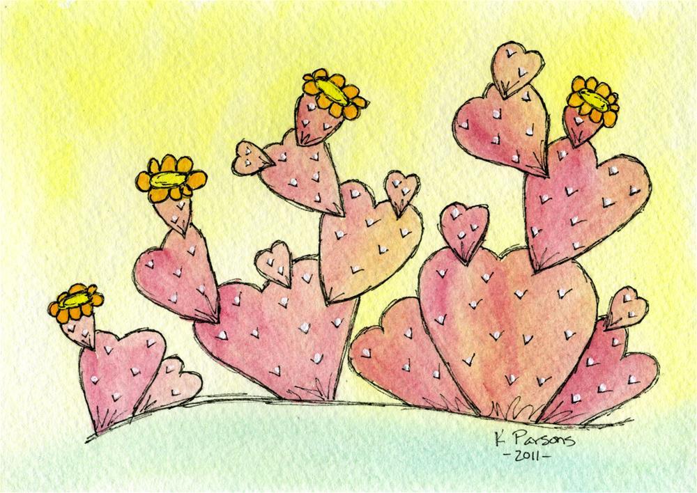 """""""Love Cactus"""" original fine art by Kali Parsons"""