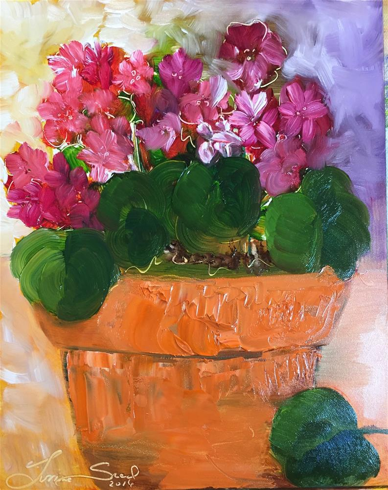"""""""Pink and Red Geranium """" original fine art by Yvonne Snead"""