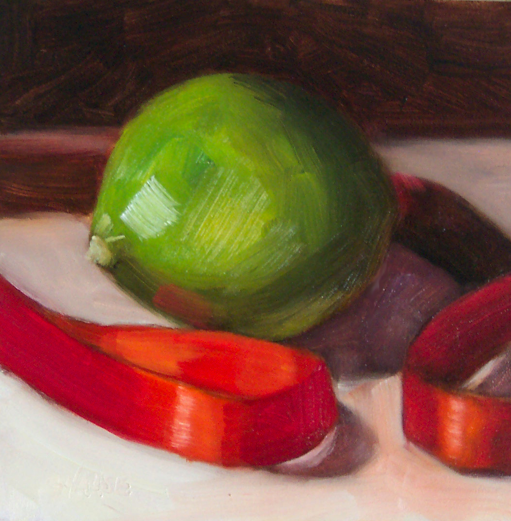 """""""Lime and Red Ribbon"""" original fine art by Cindy Haase"""