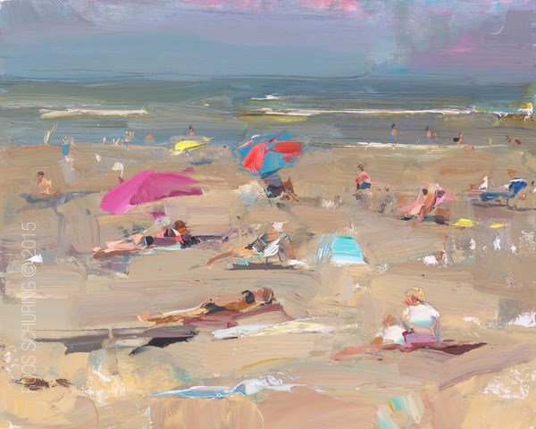 """Seascape Plein air Summer Beach"" original fine art by Roos Schuring"