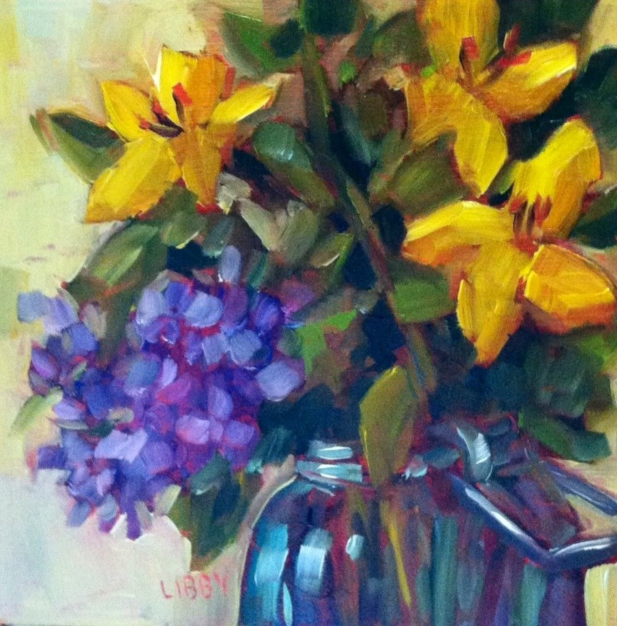 """""""Yellow and Purple"""" original fine art by Libby Anderson"""