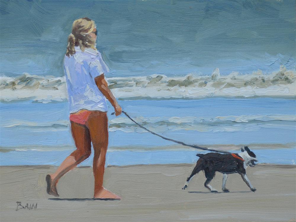 """Terrier Pull"" original fine art by Peter Bain"