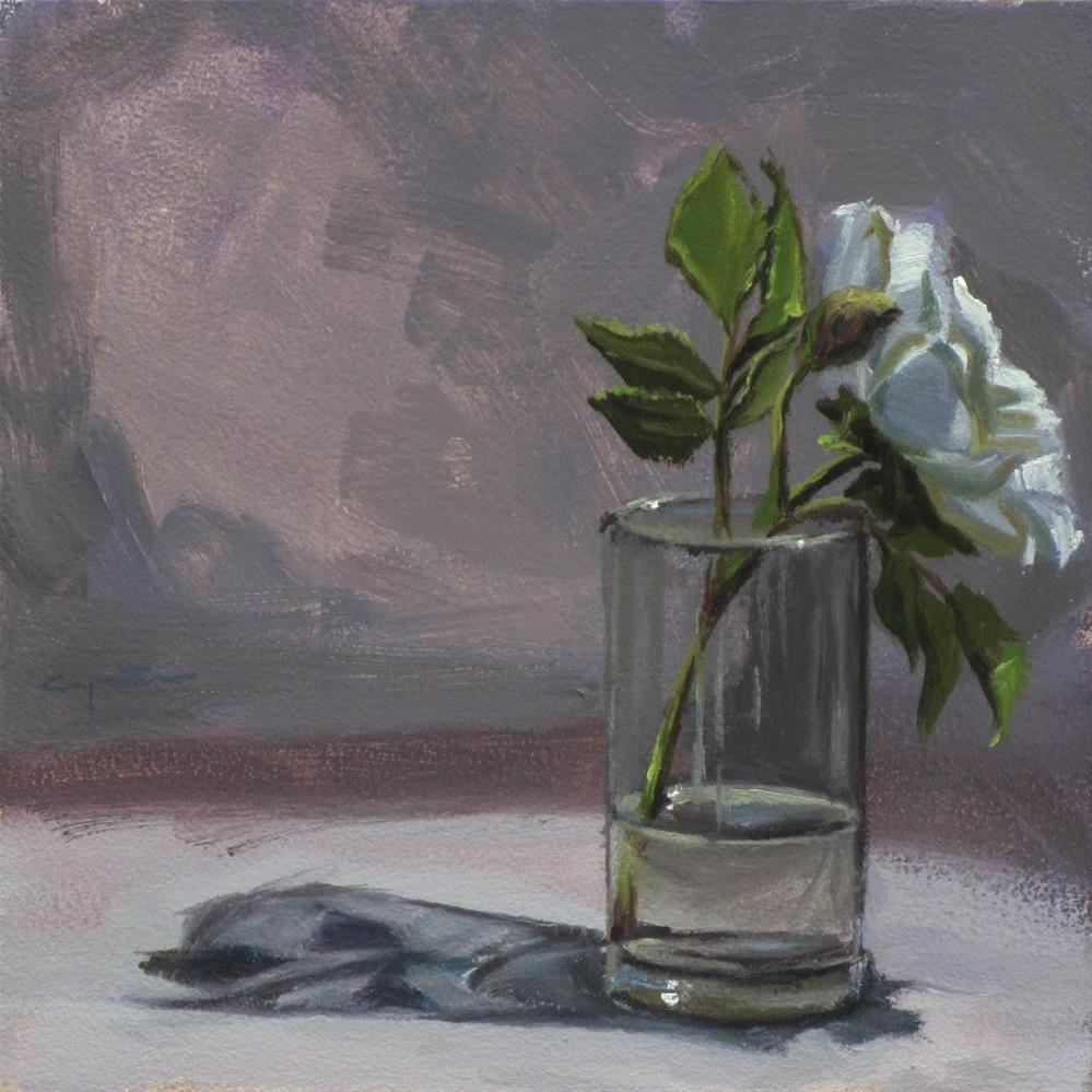"""""""Rosa blanca"""" original fine art by Eduardo Carpintero"""