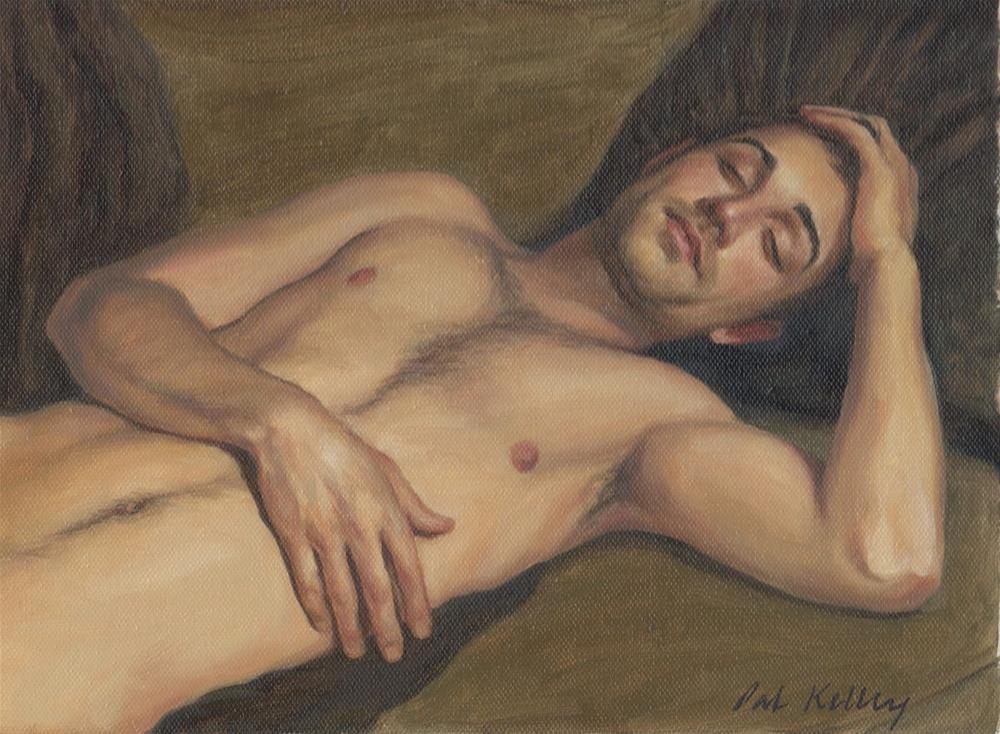 """""""Reclining Male Nude"""" original fine art by Pat Kelley"""