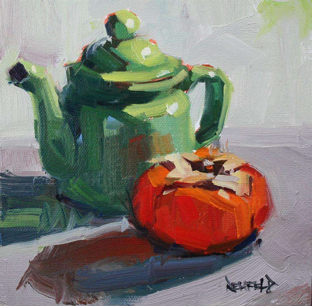 """""""Little Green Teapot"""" original fine art by Cathleen Rehfeld"""