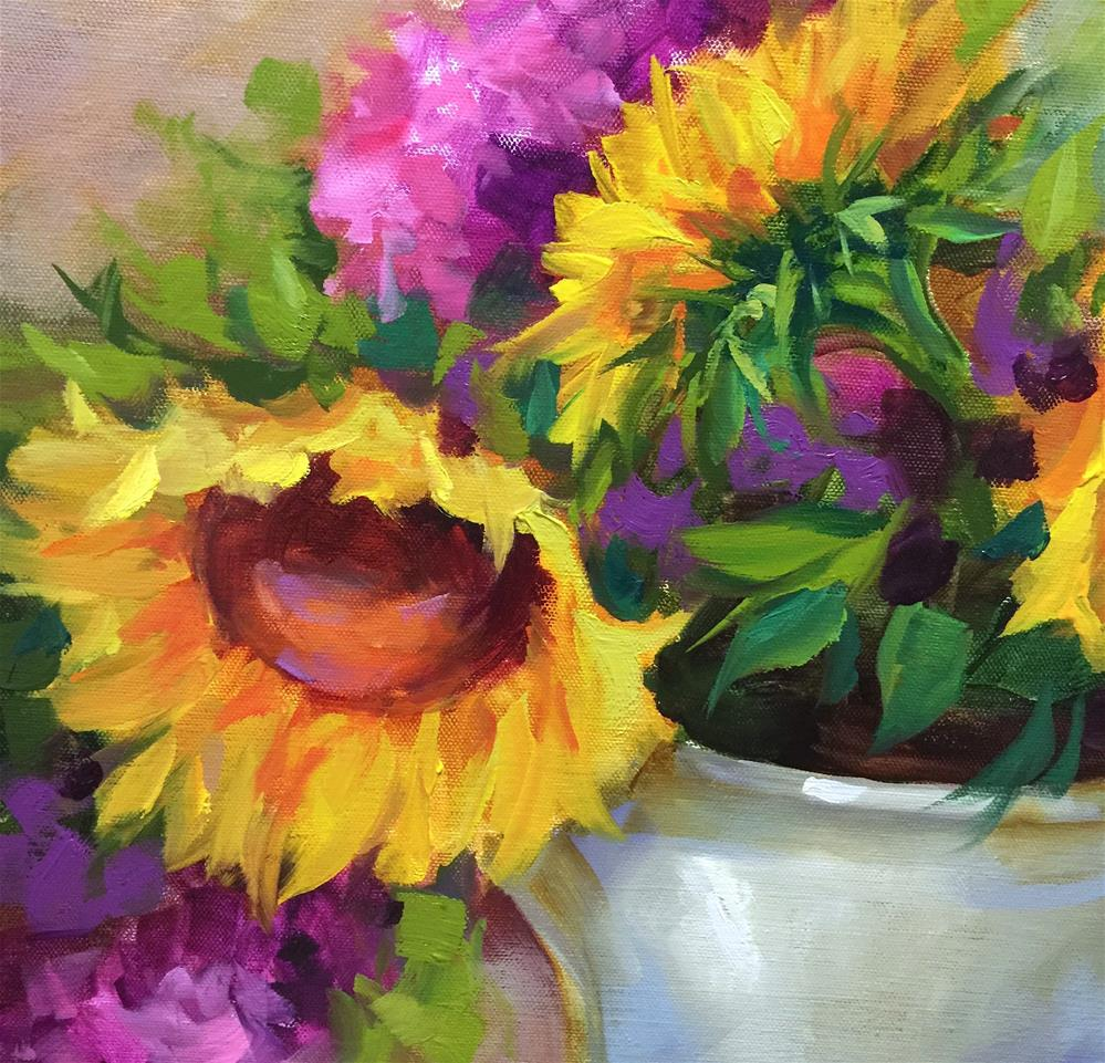 """Countdown to May 11 - Summer Garden Sunflowers"" original fine art by Nancy Medina"