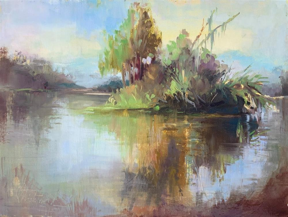 """Swampy Pond"" original fine art by Christa Friedl"