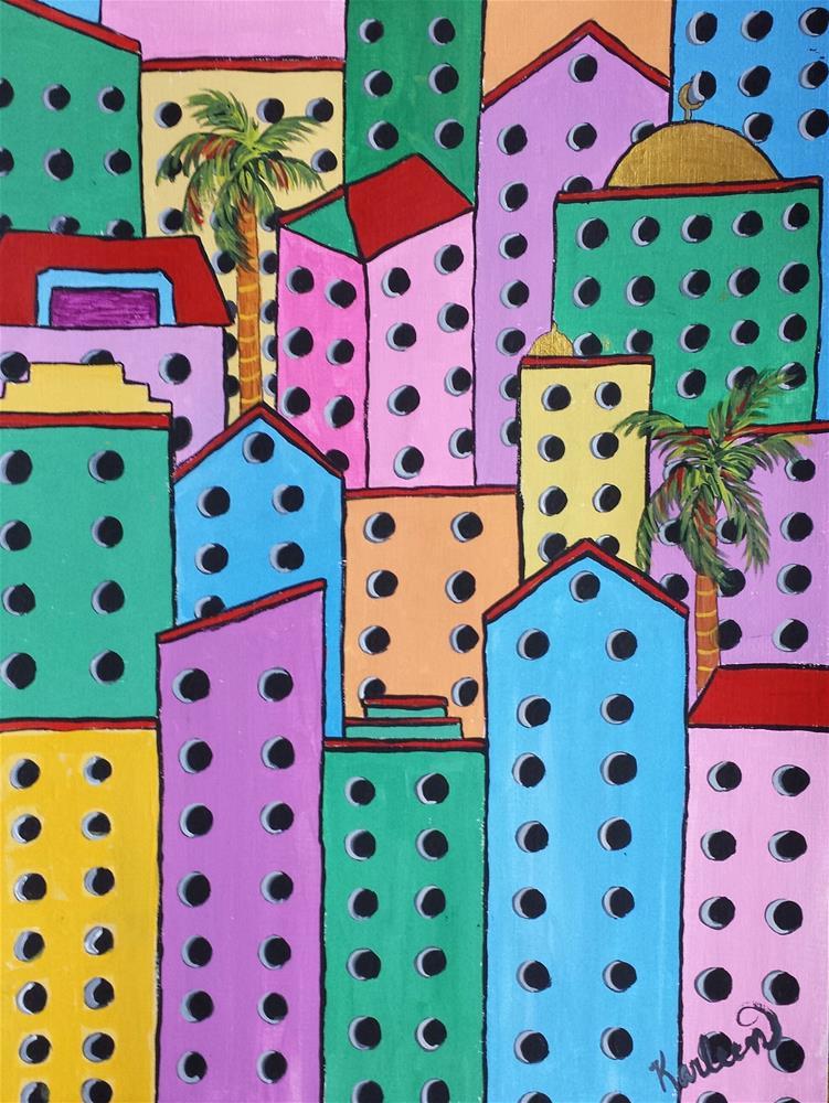 """City on a Hill"" original fine art by Karleen Kareem"