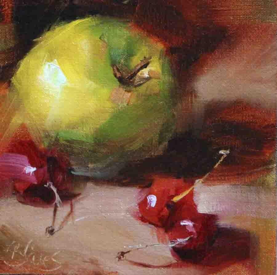 """Green Apple and Cherries commission"" original fine art by Pamela Blaies"