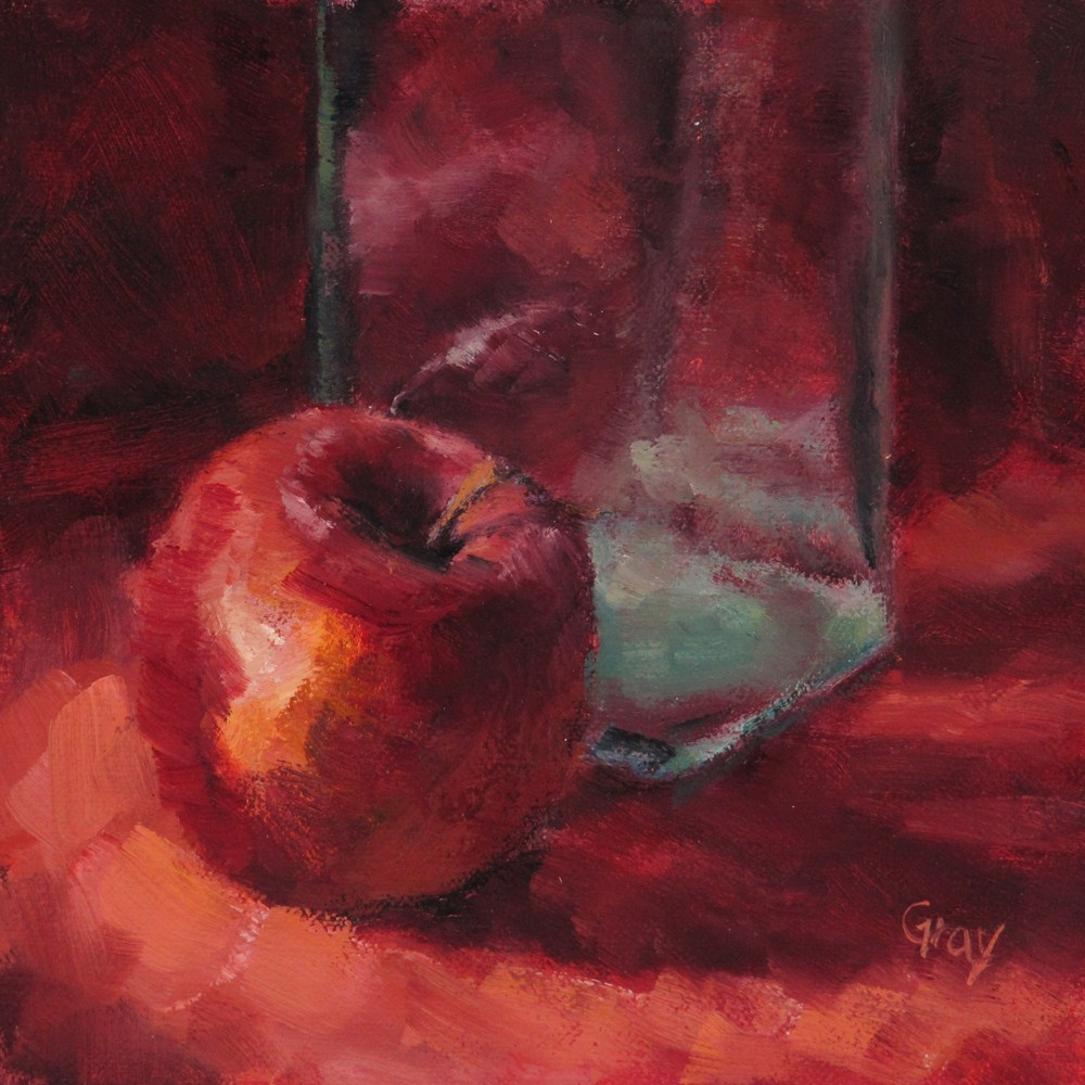 """Apple &  Bottle"" original fine art by Naomi Gray"