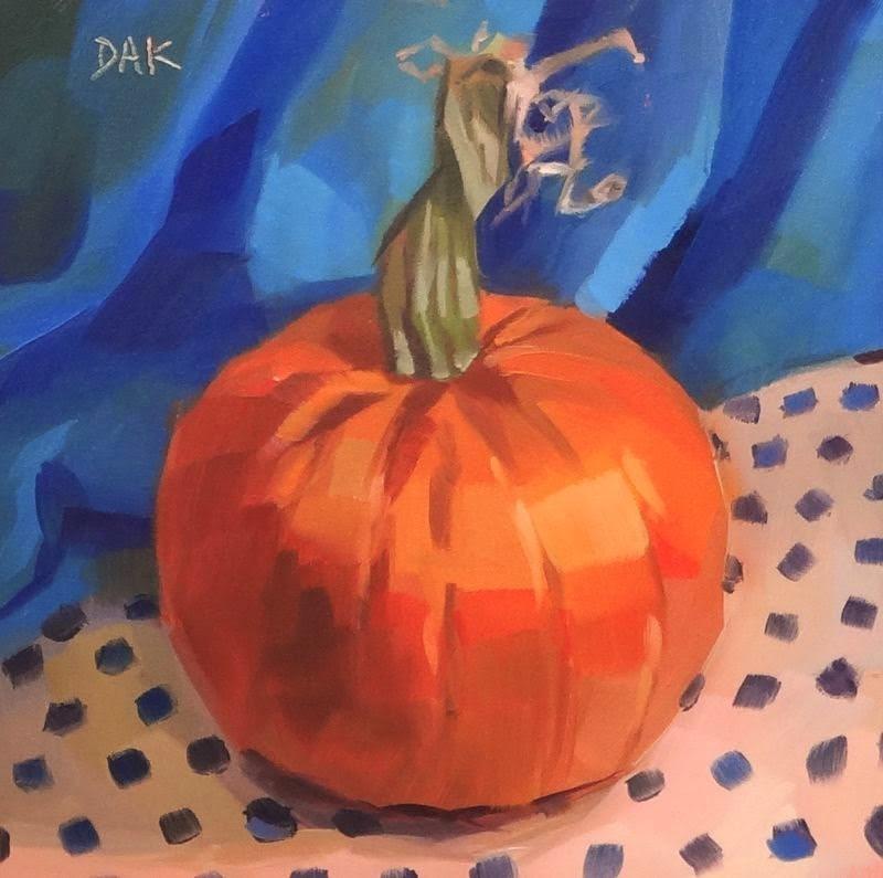 """""""Pumpkin Polka Dots"""" original fine art by Deborah Ann Kirkeeide"""