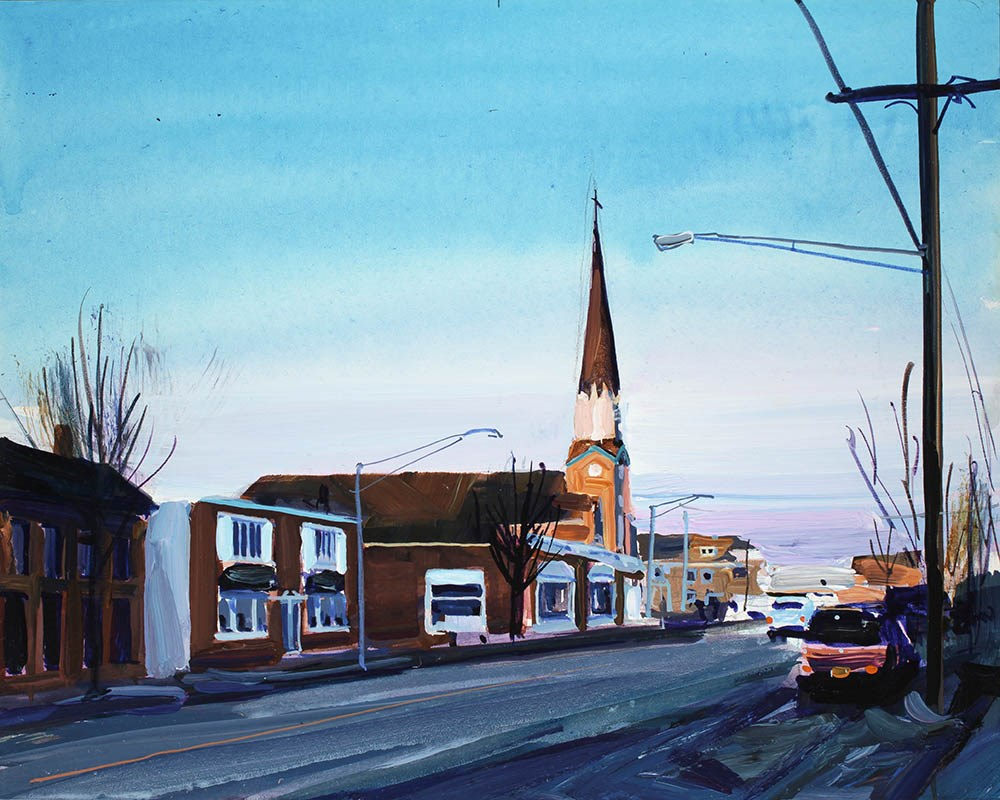 """Shops on Main Street"" original fine art by Chris Breier"