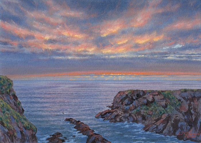 """""""""""March Sunset at Fox Cove, #2 (Cornwall, England)"""" original fine art by Steven Thor Johanneson"""