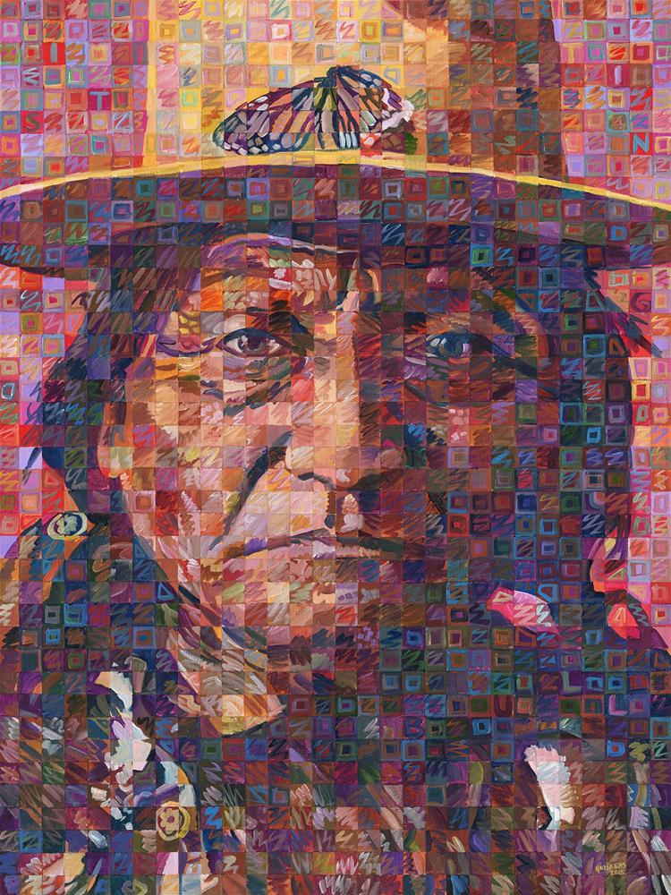 """Great Native American Chiefs – Sitting Bull"" original fine art by Randal Huiskens"