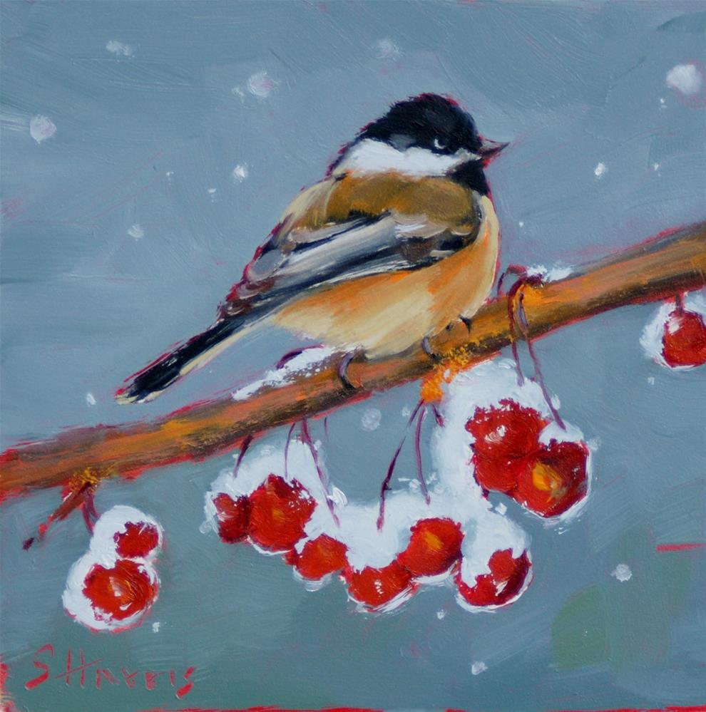 """Snow Covered Cherries"" original fine art by Sandra L Harris"