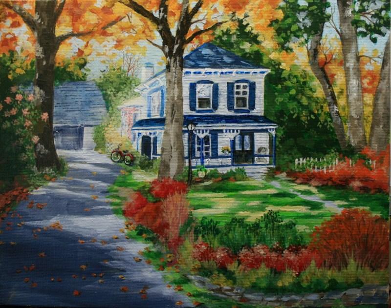 """""""Woodstock Victorian in Fall"""" original fine art by Jean Nelson"""