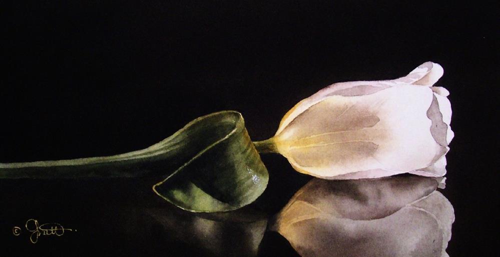 """White Tulip on Glass"" original fine art by Jacqueline Gnott, TWSA, WHS"