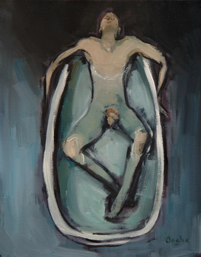 """Man in Bath"" original fine art by Angela Ooghe"