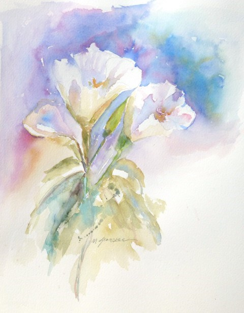 """White Flowers 13111"" original fine art by Nancy Standlee"