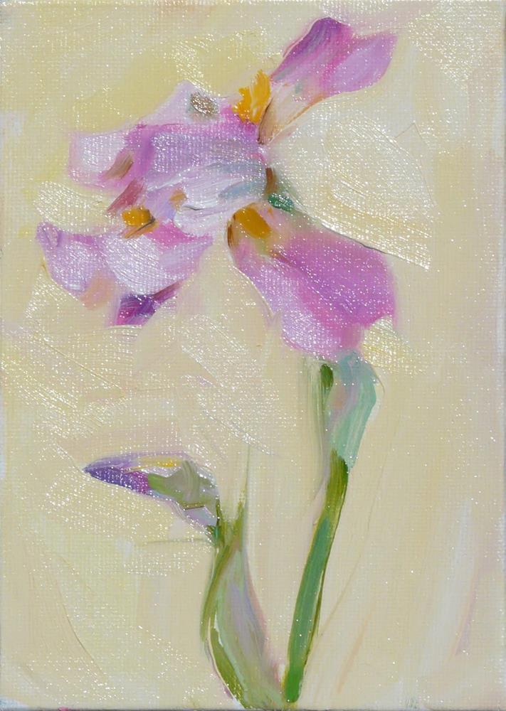 """Single Iris,still l ife,oil on canvas,7x5,$175"" original fine art by Joy Olney"