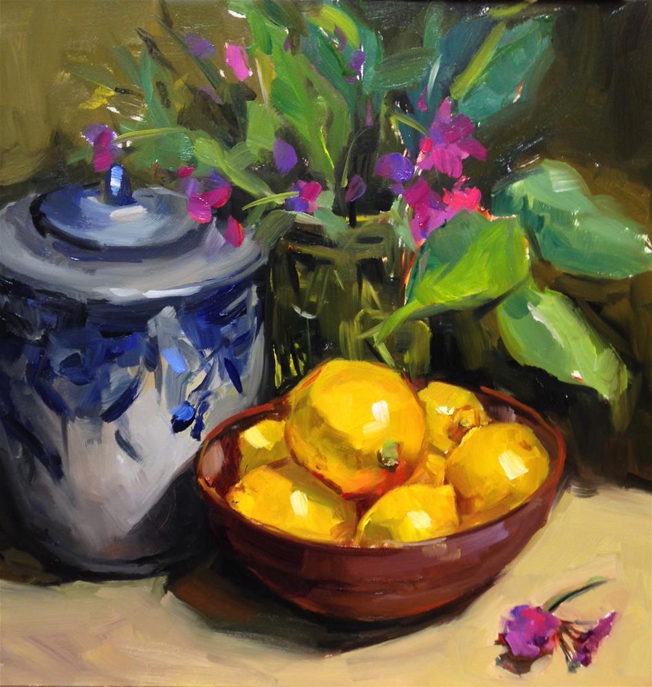 """""""The Ginger jar and Lemons"""" original fine art by Laurie Johnson Lepkowska"""