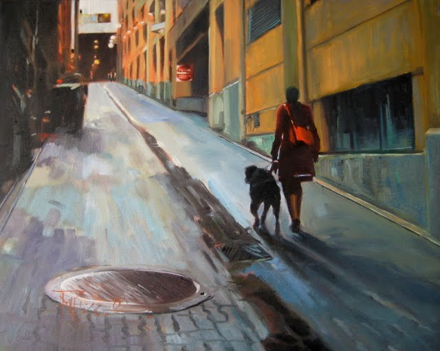 """""""The Red Purse  cityscape oil painting"""" original fine art by Robin Weiss"""