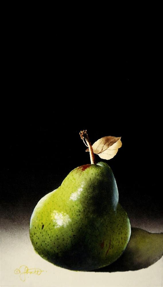 """Pear with Leaf"" original fine art by Jacqueline Gnott, TWSA, WHS"