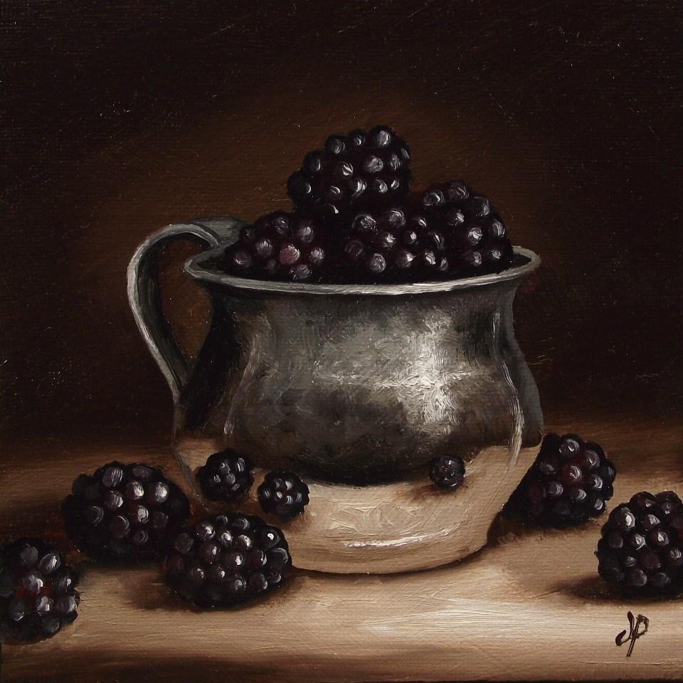 """Blackberries in silver"" original fine art by Jane Palmer"