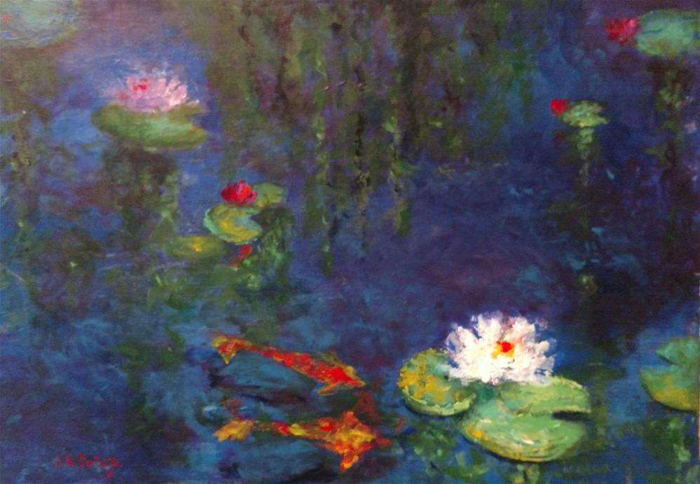 """""""Aislin's Koi and Water Lilies"""" original fine art by S. Lynne Price"""