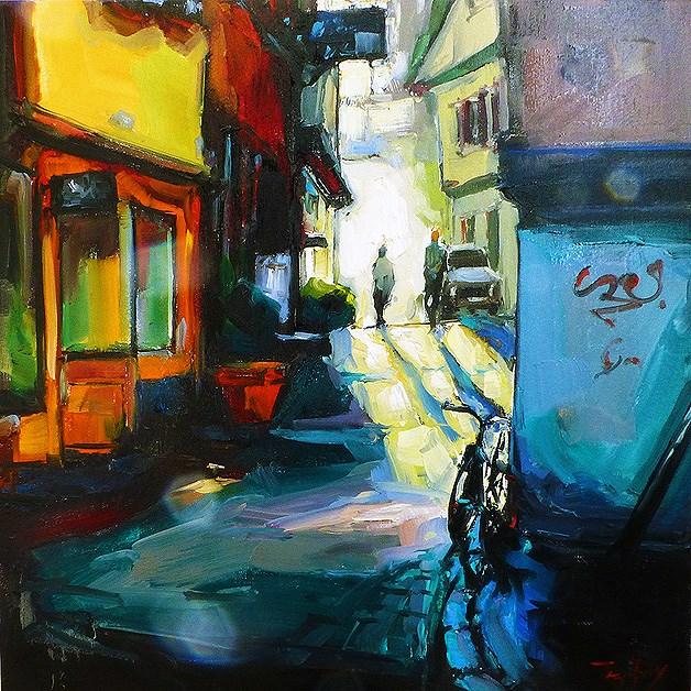 """""""Streets of Tübingen"""" original fine art by Jurij Frey"""
