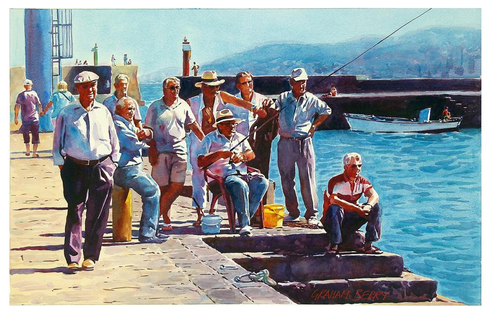 """Watching the man fishing."" original fine art by Graham Berry"