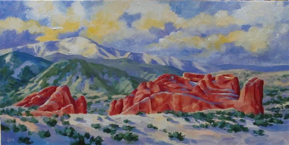"""Pike's Peak and Garden of the Gods"" original fine art by Jean Pierre DeBernay"