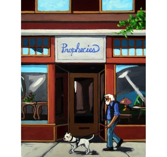 """Prophecies man walking pit bull figurative commissioned painting"" original fine art by Linda Apple"