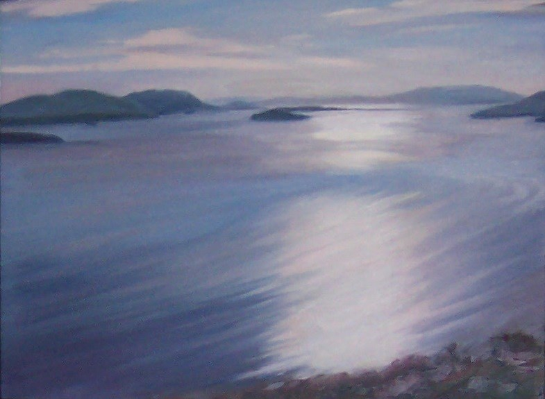 """Large view from Chuckanut Mountain,seascape,oil on canvas,24x30,priceNFS"" original fine art by Joy Olney"