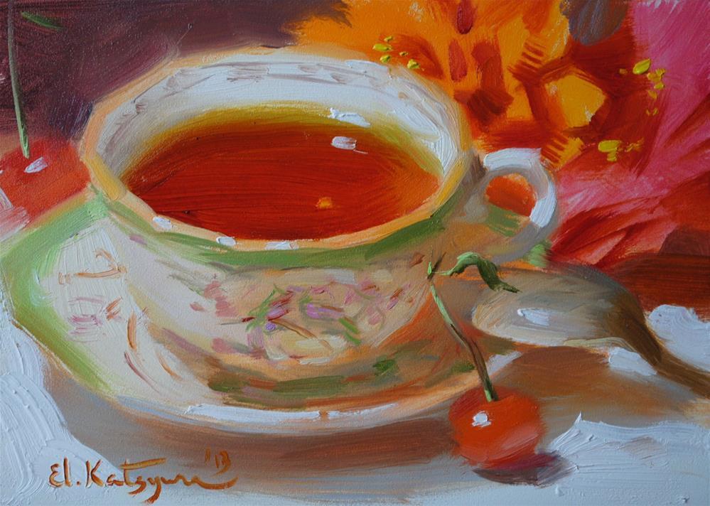 """""""August Tea"""" original fine art by Elena Katsyura"""