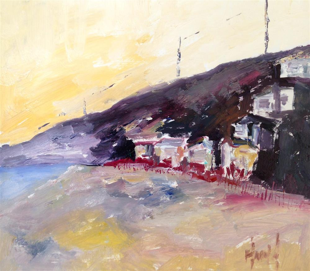 """Night Fall at Crystal Cove"" original fine art by Deborah Harold"