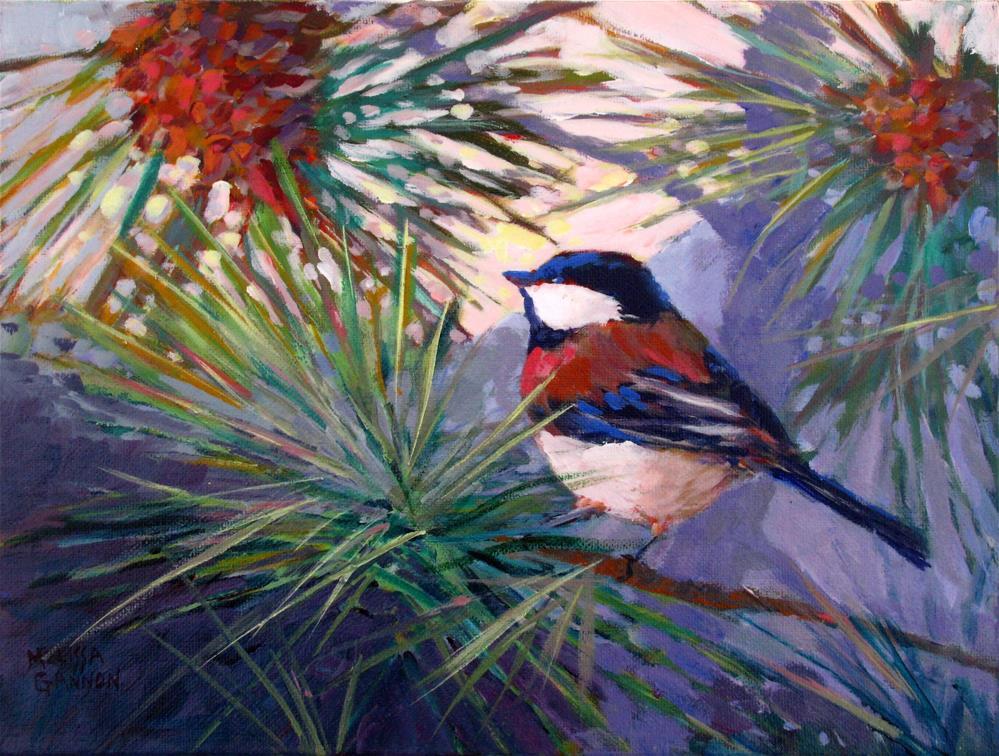 """Chickadee Cheer"" original fine art by Melissa Gannon"