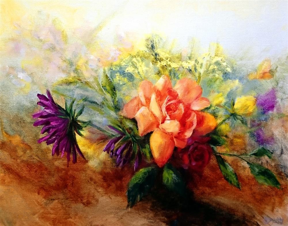 """""""Roses And Dahlias"""" original fine art by Dalan Wells"""