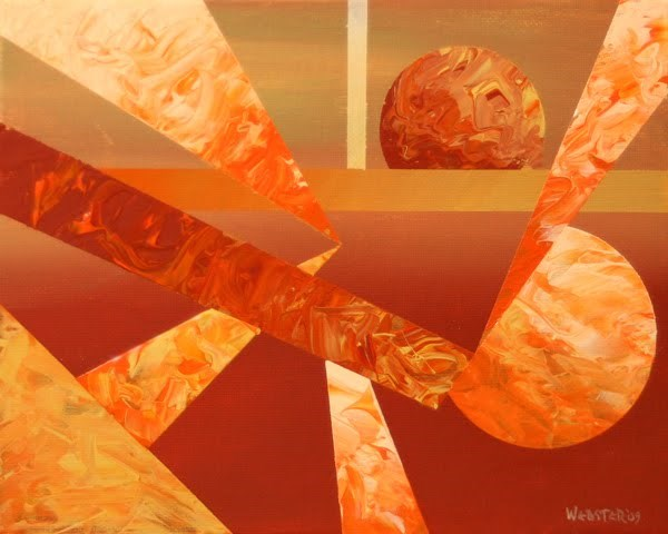 """Mark Webster - Abstract Orange Sunset Cityscape Acrylic Painting"" original fine art by Mark Webster"