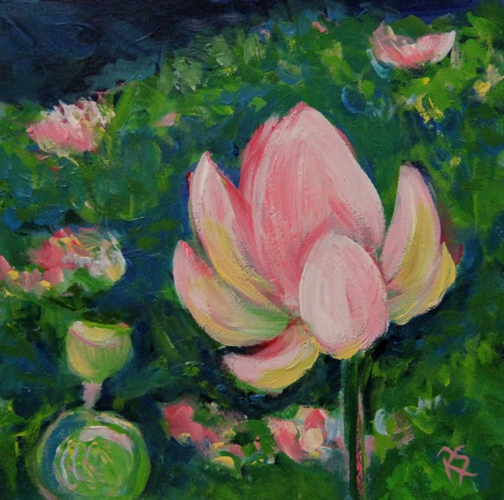 """""""In A Lotus Garden #3"""" original fine art by Roberta Schmidt"""