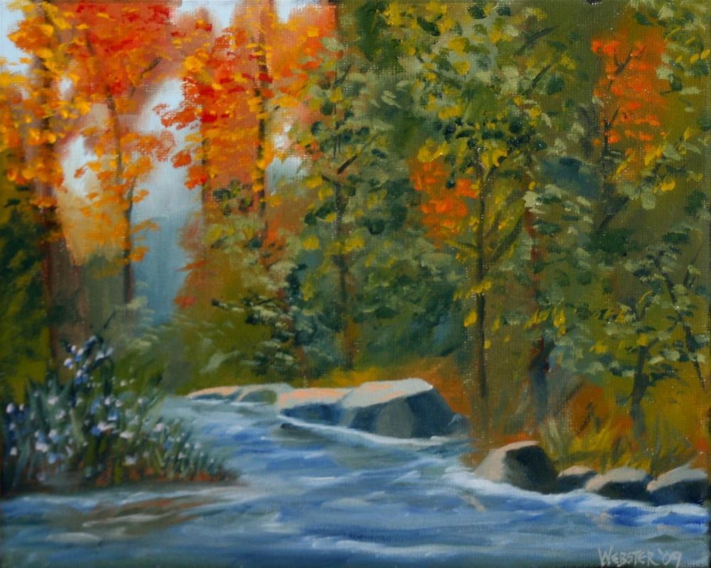 """""""Mark Webster - Autumn Forest Creek Landscape Oil Painting"""" original fine art by Mark Webster"""