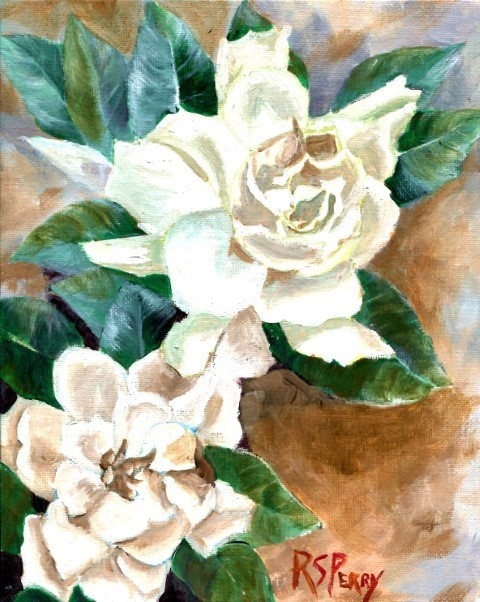 """Gardenias, unframed."" original fine art by R. S. Perry"