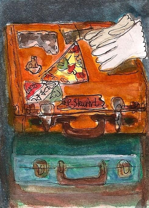 """ACEO Bon Voyage Suitcases Gloves Vintage Travel Illustration Original SFA Penny StewArt"" original fine art by Penny Lee StewArt"