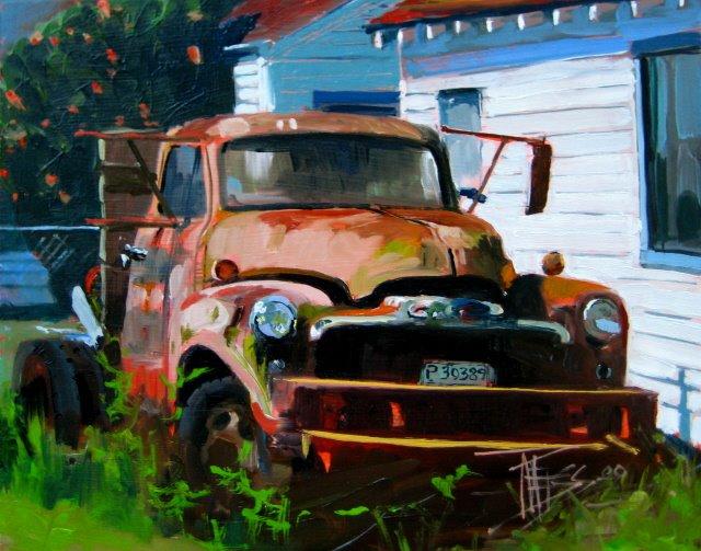"""Hansville Truck     oil on panel"" original fine art by Robin Weiss"
