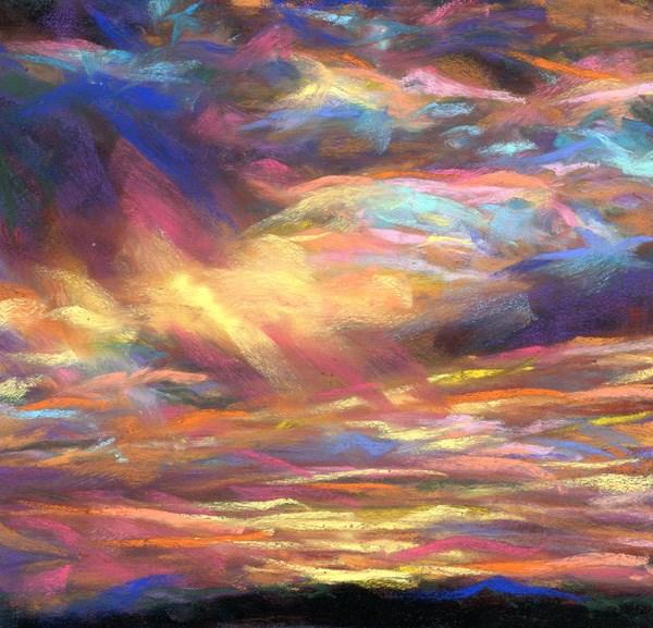 """GOLDEN RAYS - 6 x 6 sunset pastel by Susan Roden - SOLD"" original fine art by Susan Roden"