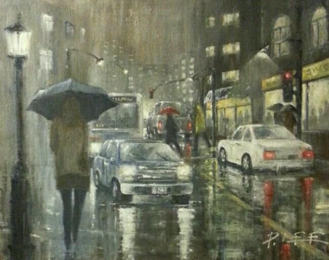 """Rainy Night"" original fine art by Peter Lee"