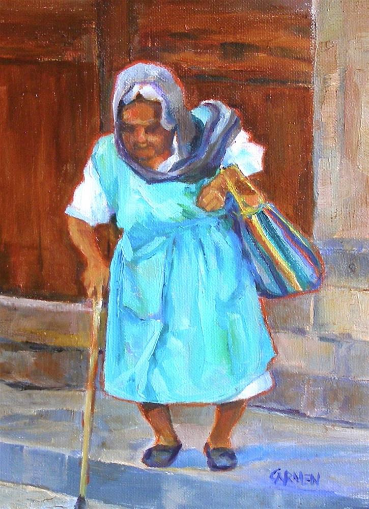 """""""Gypsy Woman, 6x8 Oil on Canvas Panel"""" original fine art by Carmen Beecher"""
